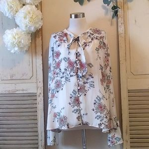 Halogen Romantic floral print blouse